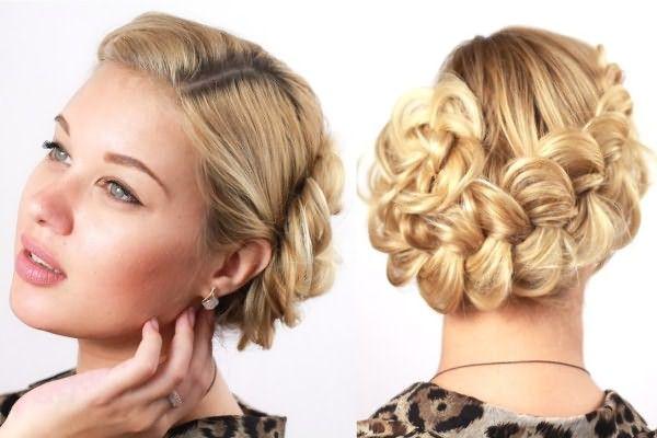 Если косу оплести вокруг головы и в конце уложить в виде спирали, можно создать очень нежный образ для любого мероприятия