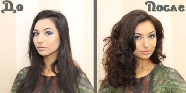 Фото девушки с темными волосами до и после тонирования