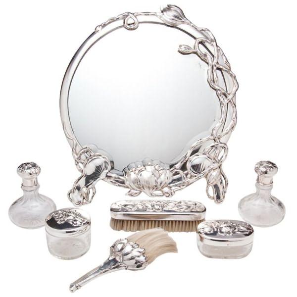 Исключительные серебра и стекла стиля модерн Тщеславие Люкс Максом Gedlicka - Австрия c.1890