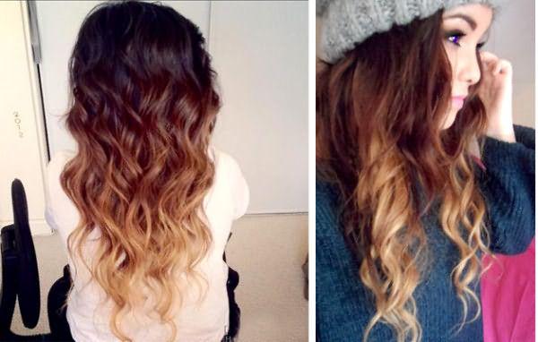 На фото мы можем наблюдать оригинальное сочетание «кудри + омбре на темных волосах».
