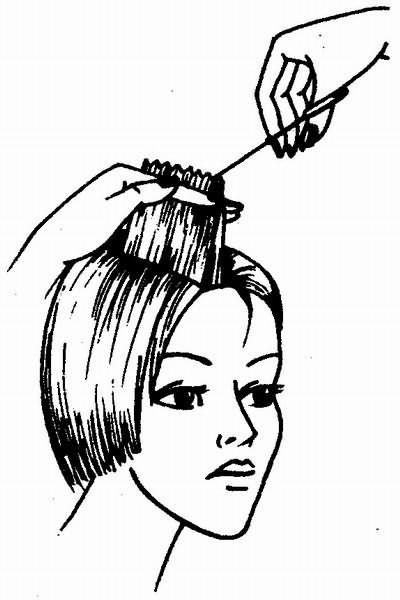 градуирование волос с одновременной филировкой пойнтированием
