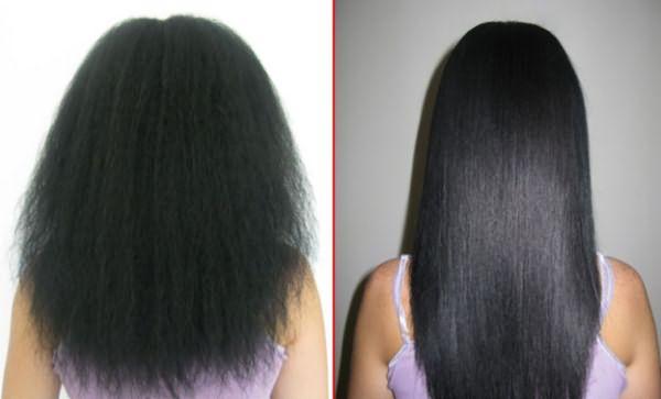 Вьющиеся волосы до и после процедуры