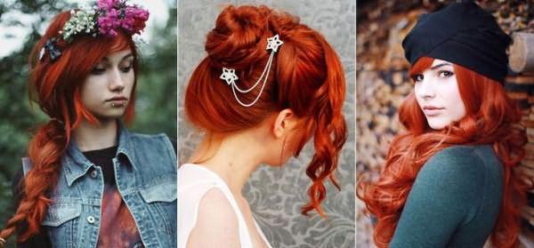 Огненно красный цвет волос при использовании хны