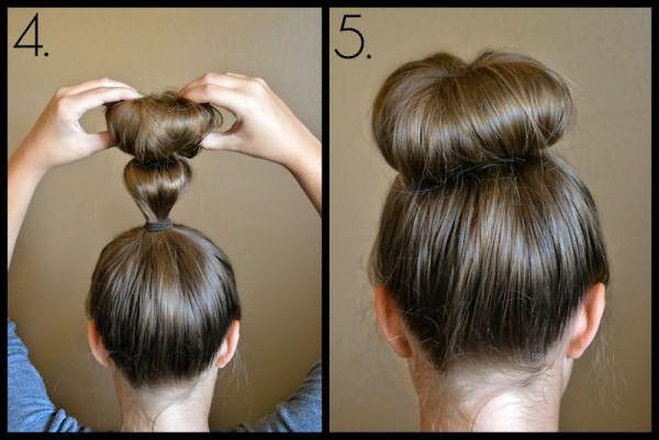 Как делать пучок с бубликом из средних волос: шаг 4-5