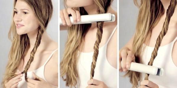 Быстро накрутить волосы скрученные в жгутики с помощью утюжка