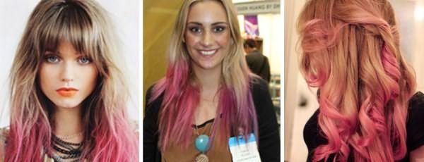 Окрашивание русых волос в розовый цвет