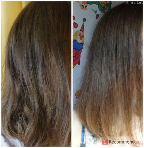 слева - сразу после покраски; справа - после первогомытья шампунем и применения кондиционера