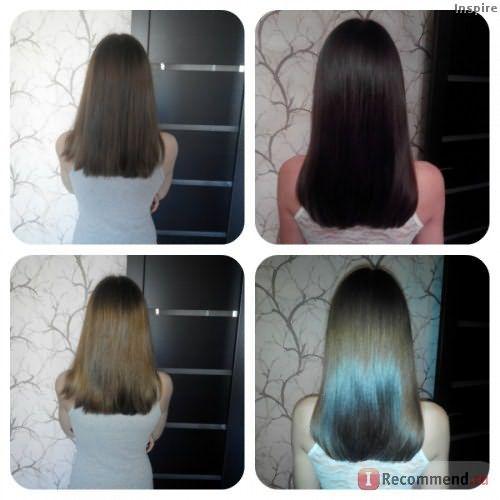 слева - волосы без применения масла, справа - после.