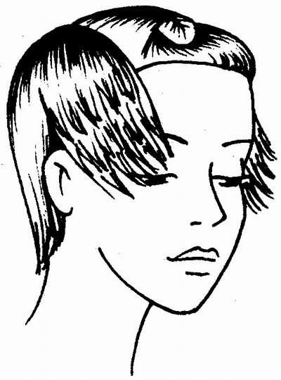 срезание волос бритвой на висках