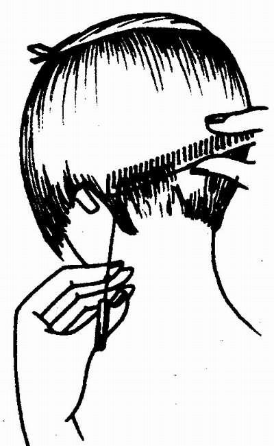 срезание волос на расческе (короткий затылок)