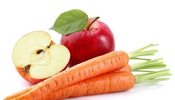 Морковь и яблоко отлично подойдут для волос.