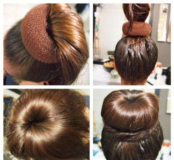 Как делать бублик из волос с помощью накладок