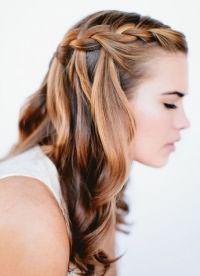 длинные волосы с косой челкой 4