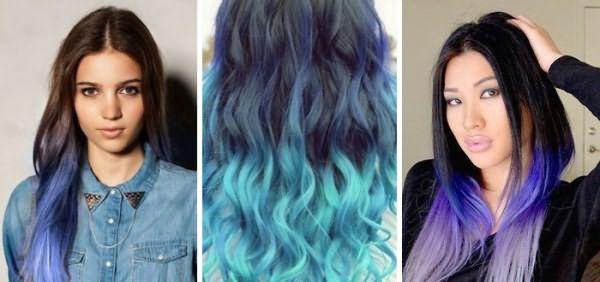 Синие кончики и темные корни волос