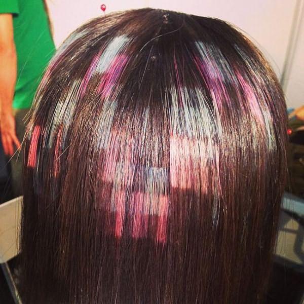 как делать пиксельное окрашивание волос