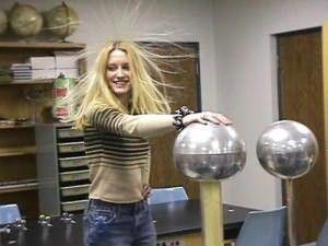 На фото показано как локоны реагируют на статический заряд.