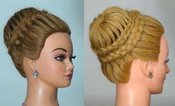 """Прическа """"корона"""" на средних волосах"""