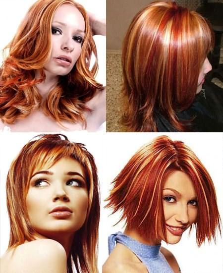 Мелирование рыжих волос разного цвета и длины
