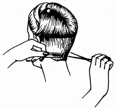 стрижка затылка методом срезания волос на расческе